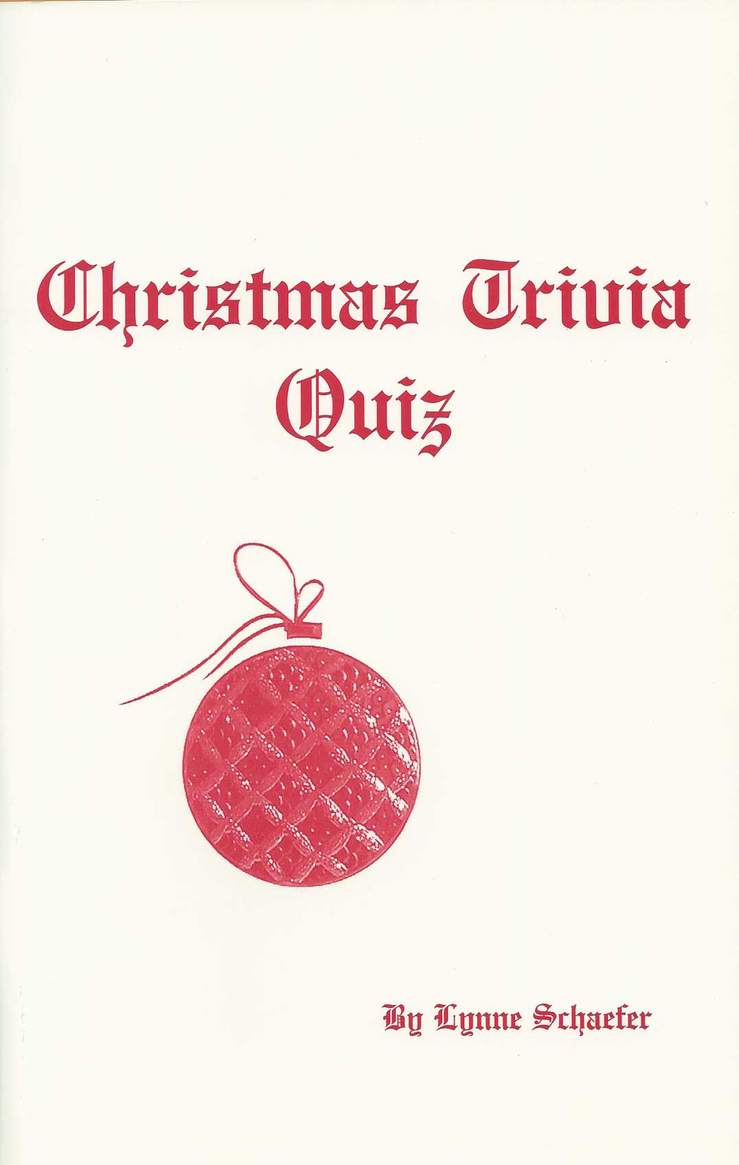 Christmas Triva Quiz booklet